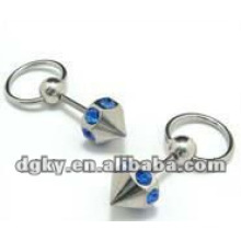 Stainless steel crystal tongue piercing body
