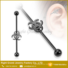 Titanium black plated 316L Surgical Steel Industrial Ear Barbell