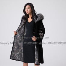 Mink Fur Overcoat För Women Reversible
