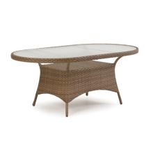 Table à manger de jardin ovale en rotin osier mobilier d'extérieur