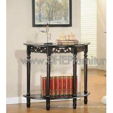 Table console en bois, table demi-lunette