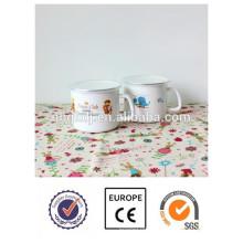 Taza de calidad superior hecha a mano de la leche del esmalte de la etiqueta animal