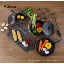 Juego de utensilios de cocina de hierro fundido de 6 piezas