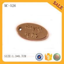 MC526 etiquetas personalizadas de joyería de metal al por mayor