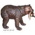 Life Size Bronze Bear Eating Fish Sculpture