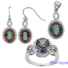 Fashion Mystic Quartz Silver Jewellery Set (S1692)