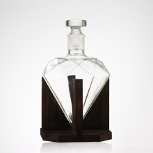 Decanter de vin de verre de Whiskey de forme de diamant 1000ml