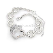En gros en acier inoxydable cristal coeur flottant médaillon bracelet bracelet
