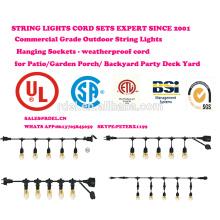 Luzes de cadeia ao ar livre conjunto comercial grau Edison strand iluminação-48ft Heavy Duty cabo 18 soquetes 21 lâmpadas incandescentes (3 Spa