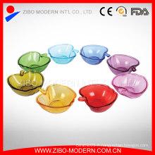Plaques mignonnes en forme de pomme en verre coloré, assiette de dessert en verre, vente en gros Assiette en dessert à base de verre bon marché