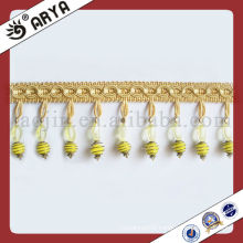 Yellow Polyster Beaded Tassel Fringe For Curtain Decorative Acrylic Curtain