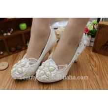 Zapatos de vestido blancos del zapato de la dama de honor de la flor del diamante del agua de la PU libre WS023