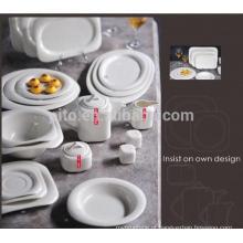 P & T fábrica de porcelana pratos quadrados de jantar, conjuntos de jantar de porcelana, novo design para restaurantes