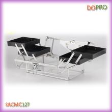 Caja de maquillaje de acrílico de tamaño mediano con cuatro bandejas (sacmc127)