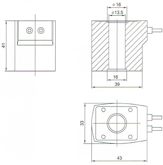Overall dimension of Lead-Type electromagnetic pulse valve accessories