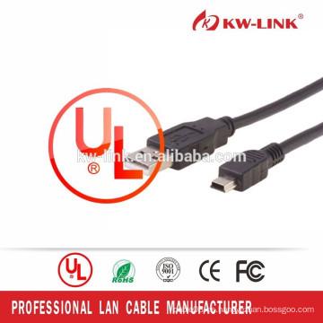 Tipo vendedor caliente para el teléfono de HTC Mini cable de datos del USB 5pin con el conectador del USB 2.0