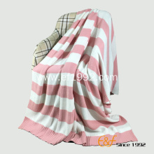 Double Color Stripe Cotton Knitted Blanket