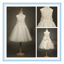Real Sample Flowers A-line Floor-length Ivory Bow Flower Girl Dresses(FLSB-3001)