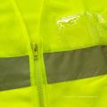 Maillot jaune fluorescent et gilet de sécurité réfléchissant solide avec poche en PVC
