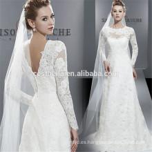 Sweetheart de manga larga con espalda baja de encaje vestido de novia de sirena Applique White Fishtail vestidos de novia