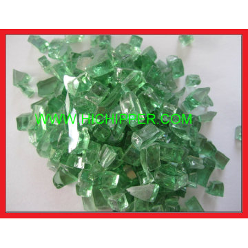 Fire Pit Glass Green Reflective