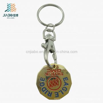 Promotional Gift Zinc Alloy Trolley Token Coin Holder Keychain with Dog Hook