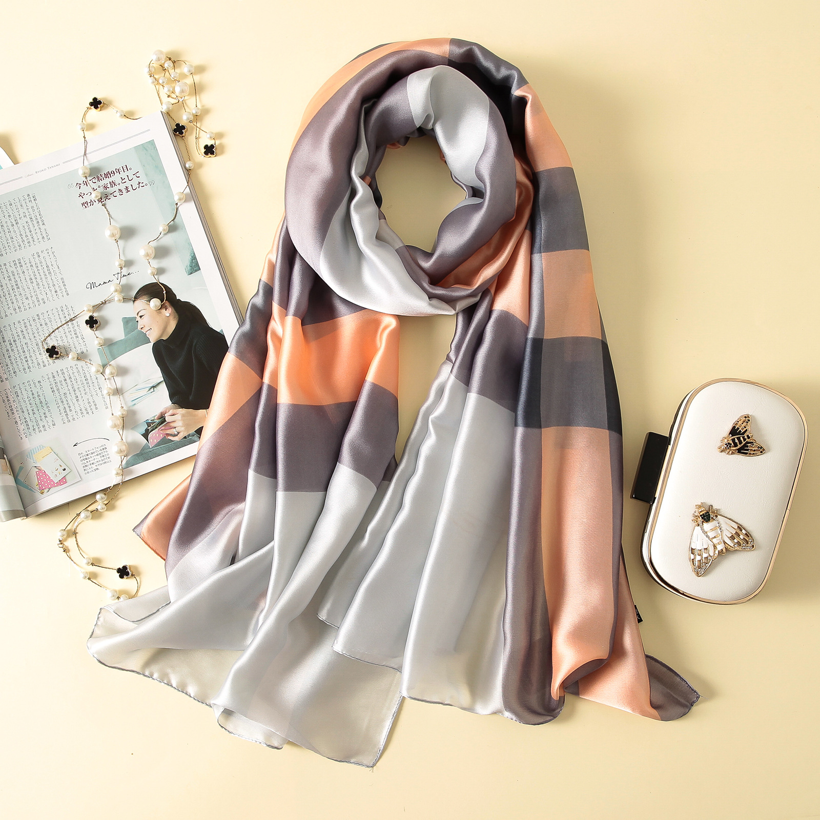 Imitation silk scarf sun block beach towel (8)