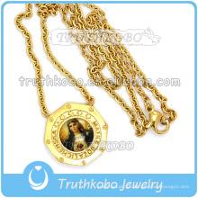 18k ouro grande o coração sagrado de jesus medalha com elo da cadeia atacado christ 316 jóias colar de aço inoxidável
