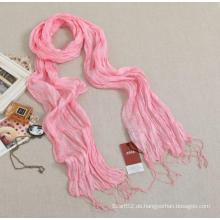 Frauen Pure Silk Solid Color Lange Rüsche Schal mit Friges (SD260L)