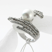 wholesale rhinestone finger rings for women brand jewelry women Promotion rhodium Rhinestone pearl inlay finger rings