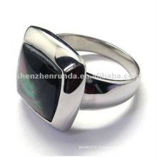 2012 créations spéciales 316 bijoux anneaux en acier inoxydable avec gemme noire sur