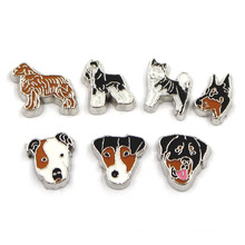 Enamel Metal Zinc Alloy Cute Dog Floating Locket Charms