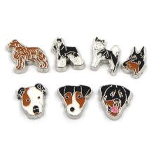 Esmalte metal liga de zinco bonito cão flutuante Locket encantos