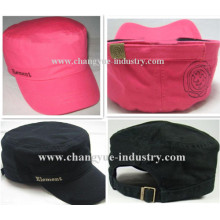 Black and red fitted cotton customized military cap