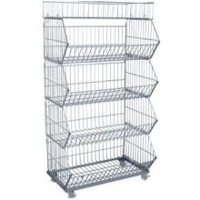 Venta por mayor mejor precio contenedor apilable de metal liviano, con alta calidad