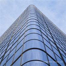 Curved Glass Curtain Wall System Bent Aluminium Facade with Tempered Tinted Double Triple Low E Glazing