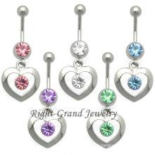Diamantes de imitación corazón ombligo Piercing anillo de encastre 14G