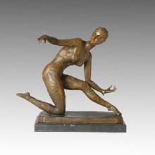 Танцовщица Бронзовая скульптура красоты Девушка резьба латунная статуя TPE-168