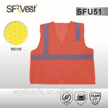 High visibility Polyester Mesh Reflective Safety Vest with 2pockets