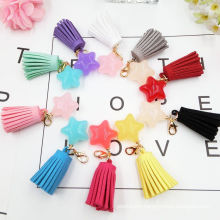 New Design Fashion Candy Color Five Star Suede Tassel Keychain Accessories Pendant Tassel Bag Accessories