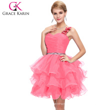 2015 Grace Karin New Fashion Ladies Beaded One Shoulder Organza Short Hot Pink Cocktail Dress CL4589-4