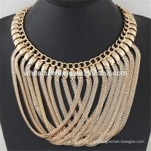 Brillante metal sentido cruz simple oro diseña collar cadena