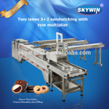 High Efficiency Biscuit Factory Machine Two Lines Biscuit Cookies Sandwiching Machine
