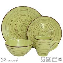 16PCS Antiqute Green with Brush Ceramic Dinner Set