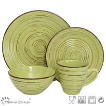 16PCS Antiqute Green with Brush Ceramic Dinner Set