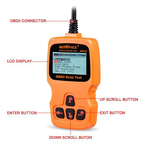 OM123 OBD2 EOBD CAN Hand-held Engine Code Reader (Orange Color)