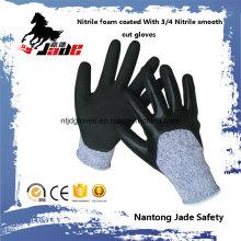 13G 3/4 Nitrilo com acabamento em areia com luva de segurança resistente a corte com nitrilo