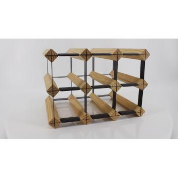 Minghou hot sale natural pine wood and metal black pieces modular wine storage racks