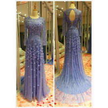Top Sale EU 32-40 Heavy Beading Sky Blue Evening Dress