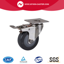 Stainless 3 Inch 65Kg Plate Brake PU Caster